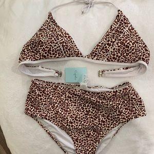 High waisted leopard print bikini NWT